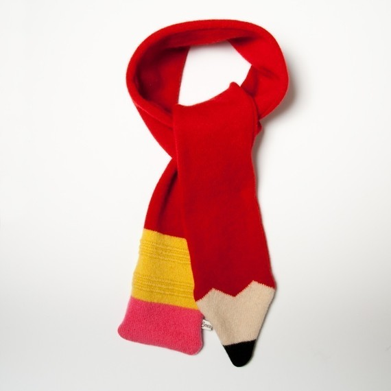 Lambswool Red Pencil Scarf